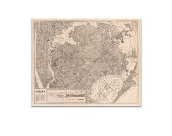 Maple Wood Map of Queens, New York. Queens Wall Art, Wood Print, New York City Wall Art, Vintage Map Home Decor