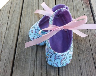 Unicorns and Rainbows babygirl crib shoes