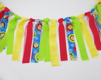 Curious George Fabric Garland - Curious George Birthday Party Decor - Curious George 1st Birthday - Curious George High Chair Banner