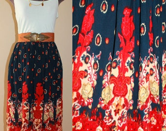 VTG 70s 80s Abstract Ethnic India Gauze Hippy Boho Peasant summer Midi skirt XL