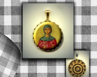 St Aspasia Orthodox icon flat button CABOCHON in Brass Charm / Pendant