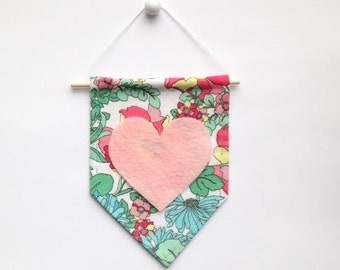 Mini Banner with Floral Print Fabric and Light Pink Felt Heart
