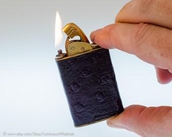 Working 1950s Evans Supreme Pocket Lighter With Violet Ostrich Leather Covering