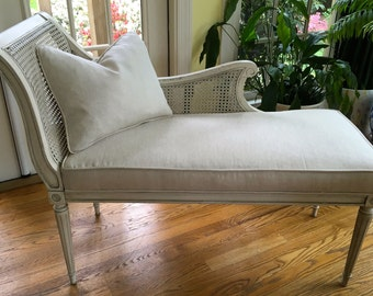 Compact Caned Chaise Lounge w/ Pillow - Totally Refurbished