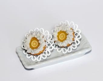 Lemon Pie Earrings - Pastry Earrings -  food Earrings - Miniature Food Jewelry - Pie Stud Earrings