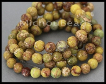 """15"""" Strand - 8mm Yellow Green MAGNESITE Round Beads - Natural Genuine Gemstone Rounded Smooth B Grade Beads - Instant Shipping - USA - 6783"""
