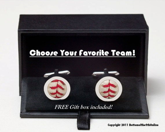 Game Used Baseball Cufflinks w/ GIFT BOX Included