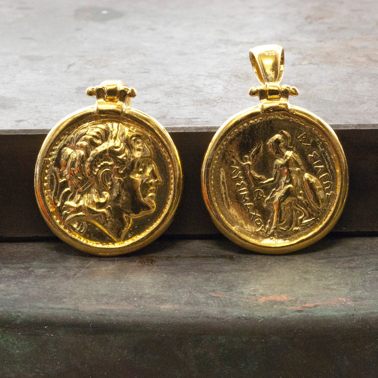 Gold Greek Coin Necklace, Alexander the Great Ancient Coin ...