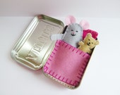 Wee Mouse Tin House - silver grey felt mouse in an Altoids Tin House - pink bedding - travel toy - purse toy - pocket toy - ready to ship