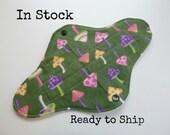 10 inch teen size Retro Rags cloth pad - cloth menstrual pad - petite pad  medium flow - green mushroom flannel top - in stock ready to ship