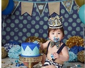 Birthday Boy Fancy Prince Crown Hat in Navy Blue, Aqua, Ivory and Gold