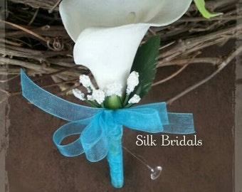 White Calla Lily Boutonniere Malibu blue turquoise Groom groomsman bridal silk wedding flowers