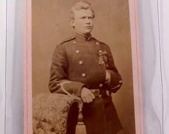 Vintage Danish Soldier Photograph in Protective Plastic Case - Lot 1