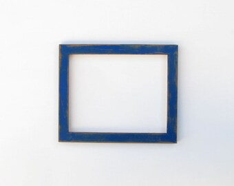 Distressed blue frame - 8x10 picture frame, handpainted, dark blue and brown