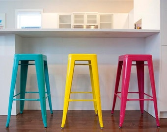 "Custom Painted Tolix Style Stool in the Color of your Choice 24"" Counter Height"