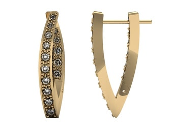 V-shape Diamond Hoop Earrings 1.17 ct in White Yellow Rose Gold | made to order for you within 5-7 business days