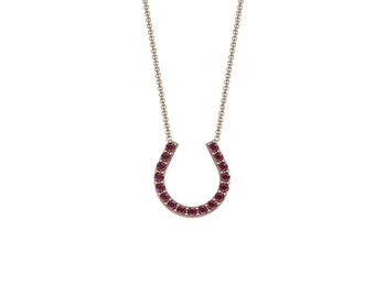 Emerald Ruby Sapphire Lucky Horseshoe Necklace in 14k Rose Gold | made to order for you within 5-7 business days