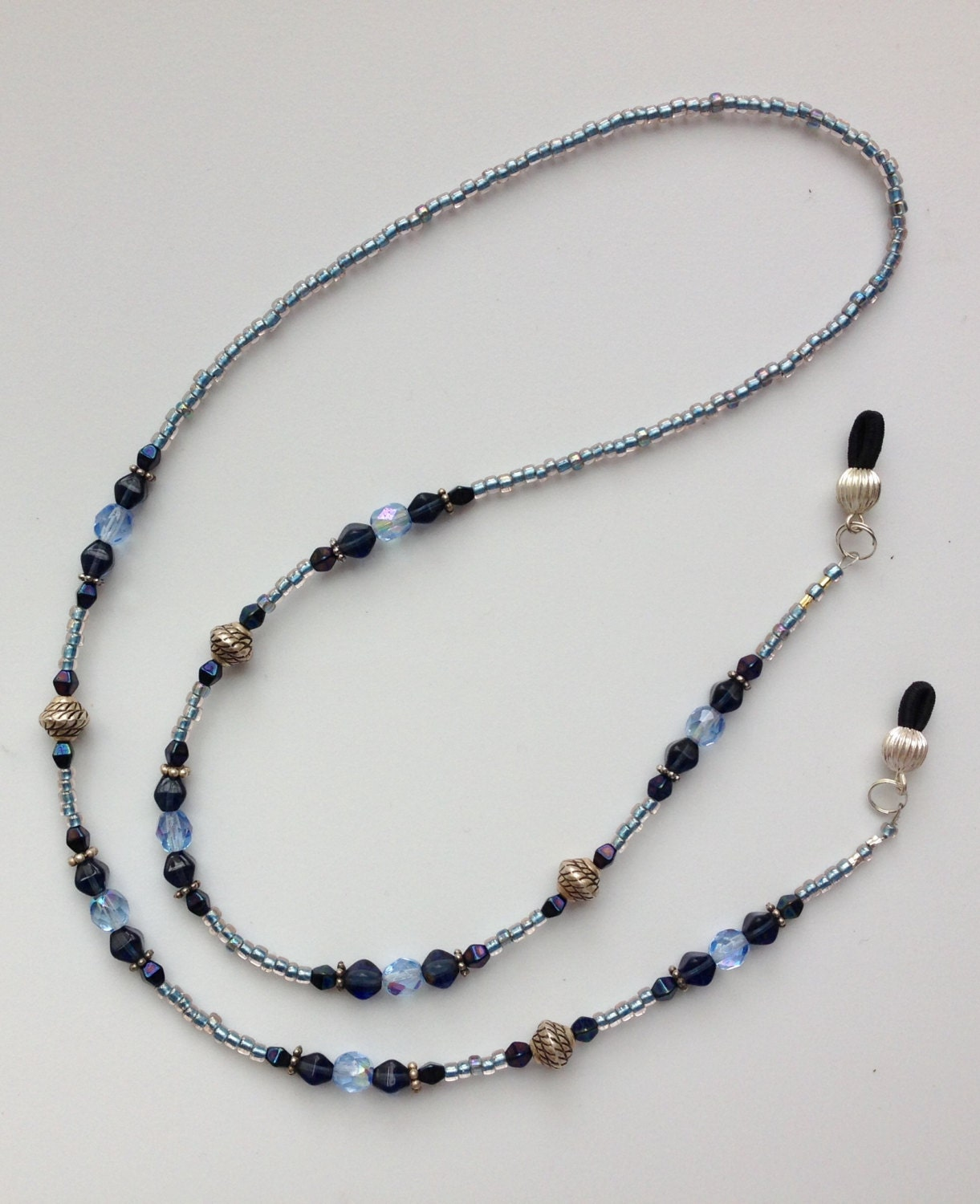 beaded eyeglass holder light and blue and silver