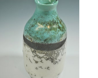 Raku Vase, Handmade Vase, Unique Vase, Wheel thrown vase
