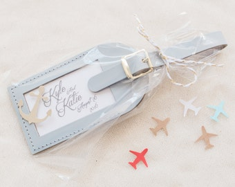 Wedding Favors - Anchors Away Leather Luggage Tags