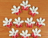 SALE 10pcs Cute Minnie Mouse Hands w/bow Resin Cabochons Flatbacks Flat Back Scrapbooking Girl Hair Bow Center Crafts Making Decor DIY