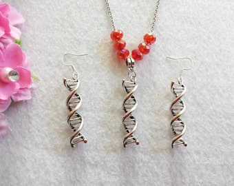 Double Helix DNA Deoxyribonucleic Acid Set of Necklace and Earrings