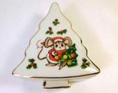 Vintage Christmas Tree Box with Mouse - LEFTON - Holiday Decoration - Treasure Trinket Box - JAPAN