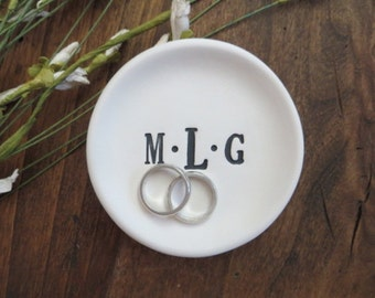ring holder, wedding ring dish, jewelry holder, engagement gift,  monogram initial tray,  Black and White Matte,  Gift Boxed, Made to Order