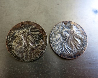 2 Melted Silver on Copper 3/4 Inch Discs, Earring findings, Reticulated Silver Discs
