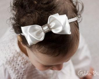 Baby White Charlotte Bow Headband - Flower Girl Headband - Baby Satin Bow - Girls Satin Bow - Baby to Adult Headband