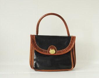 Vintage Brahmin Black & Brown Leather Top Handle Bag, Made in USA