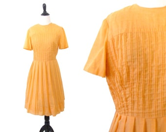 Vintage 1950's Orange Spring Dress Size Medium