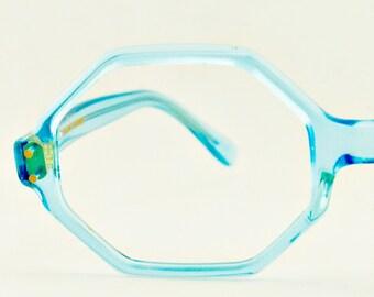 Vintage Women Blue Translucent Mindy Octo Eyeglass Capri Frames France Eyewear