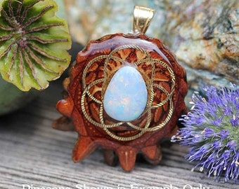 Australian Opal with Seed of Life Third Eye Pinecone Pendant