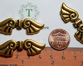4 pcs per pack of 43x13mm Angel Wing Beads Antique Gold Finish Lead Free Pewter