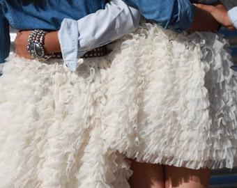 "The ""Tulle Ruffled Jeans Bride""  Skirt with many ruffles/ Country / wedding / bride maids / Ivory / Custom, Made to Order"