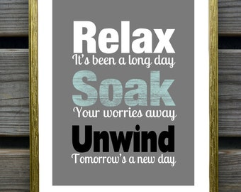 Bathroom Art Print, Relax Renew Refresh, Bathroom Wall Decor, Gray , Spa decor