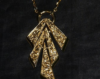 Trifari Necklace Gold Tone Dangle Geometric Pendant Costume Jewelry