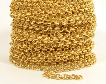 2ft - 18K Gold Plated Rolo Chain - 4.8mm Gold Plated - CH80-18K-GP