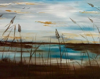 XL ORIGINAL  Marsh scene with sea oats Abstract  gallery Contemporary Modern Florida Winter Marsh Oil painting by Nicolette Vaughan Horner