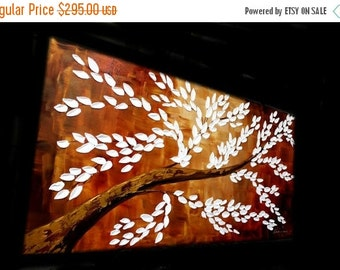"""Sale XL Abstract Acrylic painting Original 48"""" palette knife impasto Acrylic Tree Of Life painting by Nicolette Vaughan Horner"""