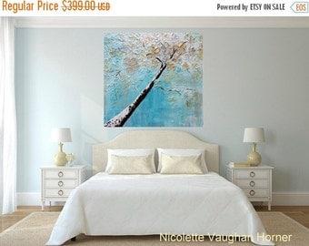 ORIGINAL HUGE Landscape Abstract  Winter Blossom Tree  Oil Painting Impasto Texture Gallery Fine Art -Nicolette Vaughan Horner