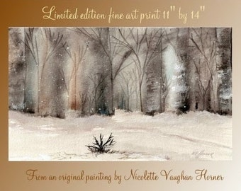 High quality limited edition print  Snowy Birch Trees from an original watercolor painting  by Nicolette Vaughan Horner