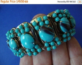 Now On Sale Beautiful Vintage Aqua Bracelet 1950's Collectible Signed Hong Kong Martini Mermaid Mad Men Mod Hollywood Glam
