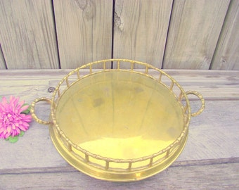 Vintage Brass Bamboo Tray Hollywood Regency Gold Round Faux Bamboo Serving Tray - Vanity tray