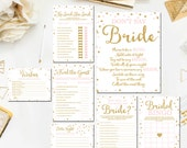 Pink and Gold Bridal Shower Games Package, Printable Gold Pink Bridal Shower Games Instant Download BR1