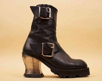90s Vtg Metal Heel Distressed Genuine Black Leather Double Buckle Biker Ankle Boot / Chunky Platform Heel PUNK Goth Zip Up Eu 40 41 US 9 9.5