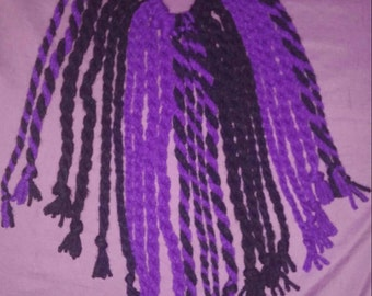 Purple and black dread falls- elastic ponytail