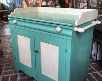 Mint Green and Cream Walnut Washstand 1800s w Towel Bars