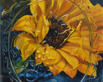 "20 x 16 Matted Giclée Reproduction Print of original ""Sunflower in A Mason Jar"" by Katie Koenig-Limited Edition"